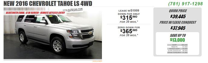 Chevrolet tahoe lease deals