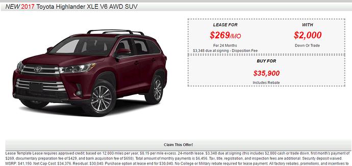 Toyota Highlander Lease Deals >> Toyota Highlander Xle Awd Lease Deals Share Deals Tips