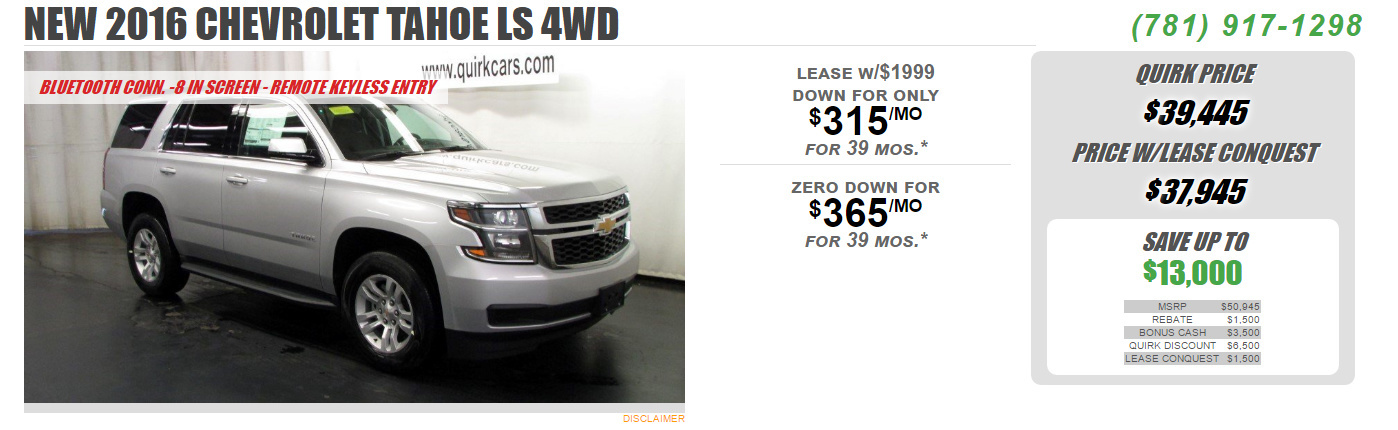 Chevy Tahoe Lease >> How S This Deal Chevy Tahoe Ls Lease Share Deals Tips