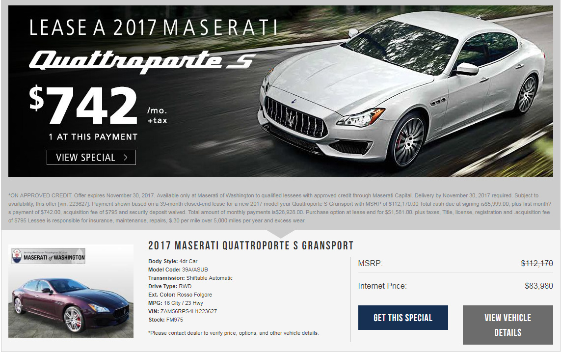 2017 maserati levante lease - ask the hackrs - leasehackr forum