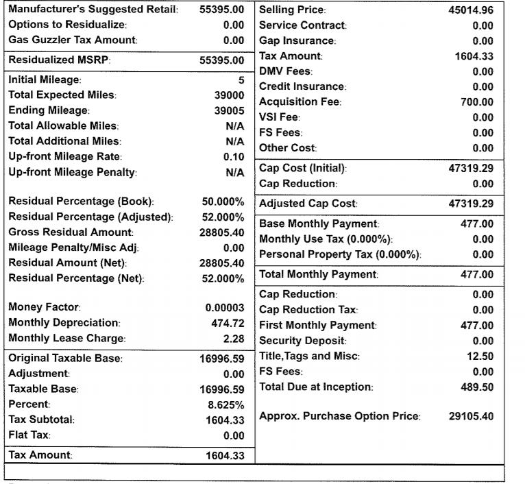 2019 qx60 luxe $399/mo, das first month, taxes, dmv, bank fee. 52k.