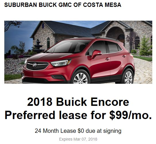 Buick Lease Deal: Buick Encore 15k Miles All In Cost $161/month