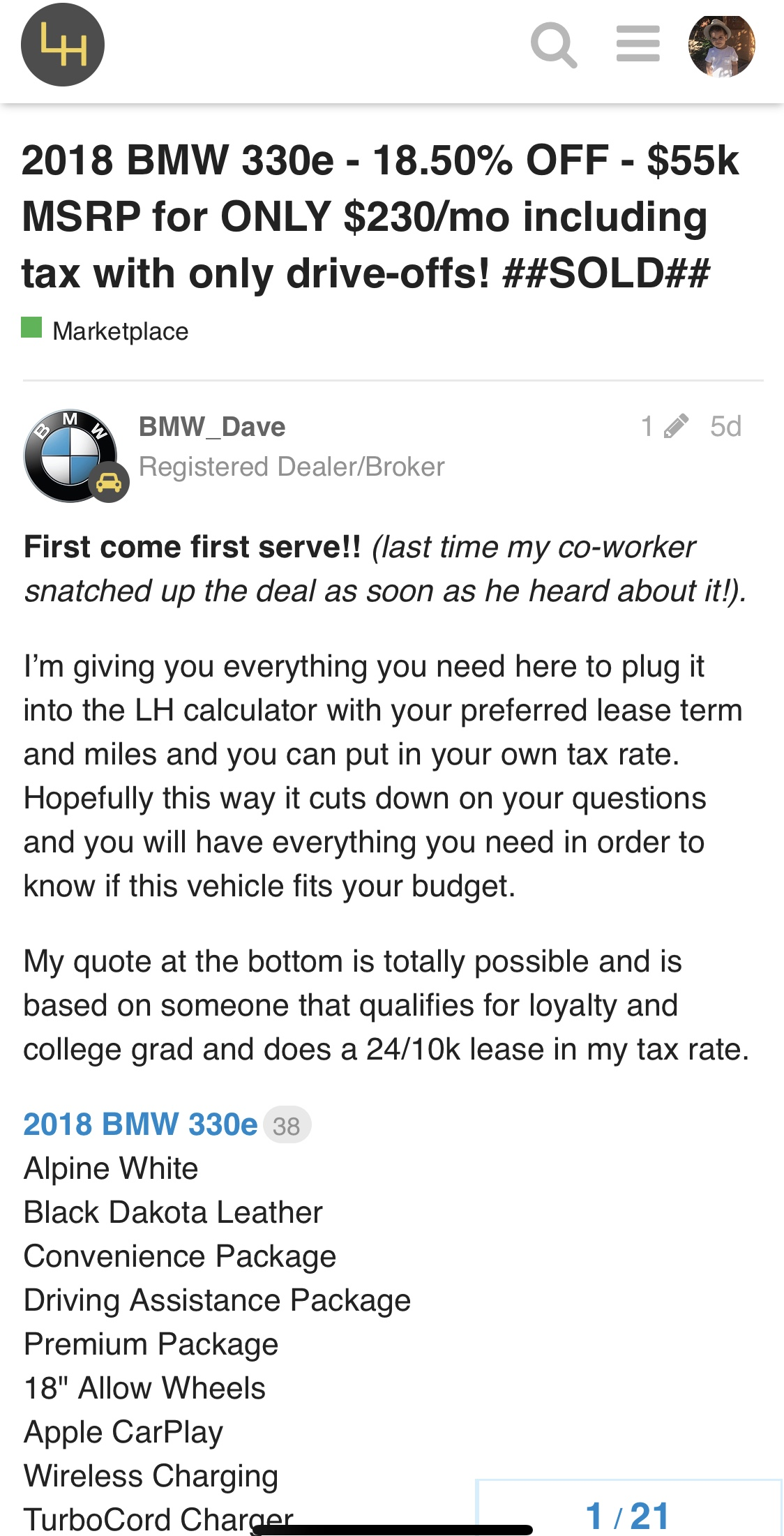 2017 BMW 330e performance - Marketplace - Leasehackr Forum