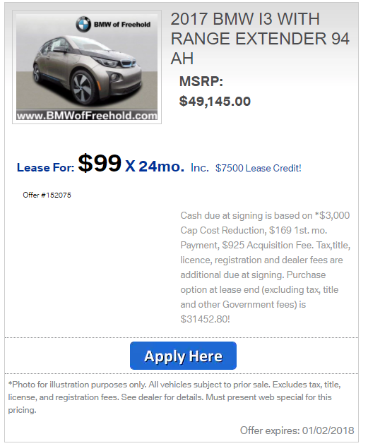 How about this BMW i3 deal - Ask the Hackrs - Leasehackr Forum