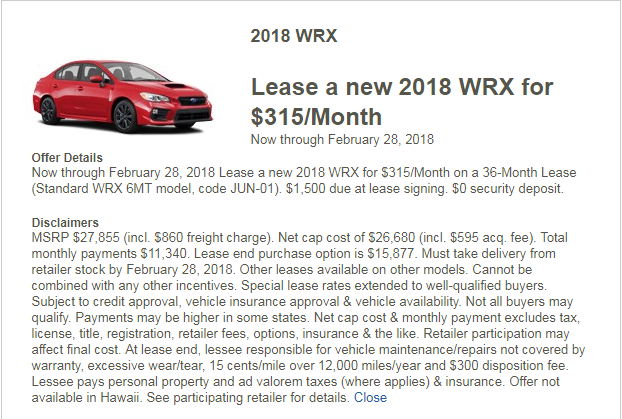 Help Needed On What To Aim For On WRX Or Audi Lease Ask The Hackrs - Audi lease calculator