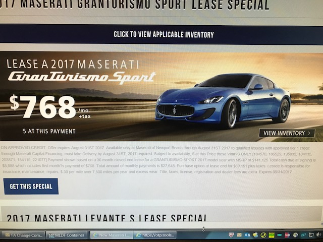 Maserati granturismo lease ask the hackrs leasehackr forum has anyone ever leases one of these for under 1000 with nothing down this advertised deal does not look bad sciox Choice Image