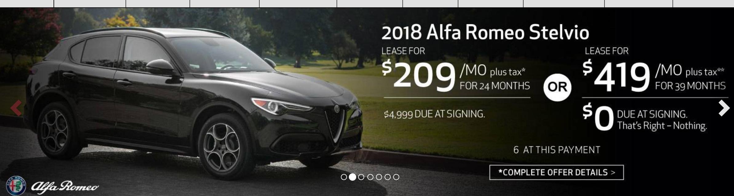 Alfa Romeo Stelvio Ti Sport Msrp 53690 24 10k 420 W 0 Down
