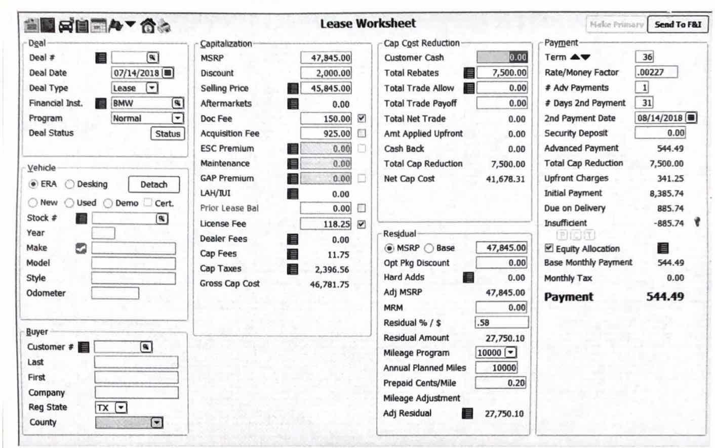 Need help understanding this BMW i3 lease worksheet - Ask