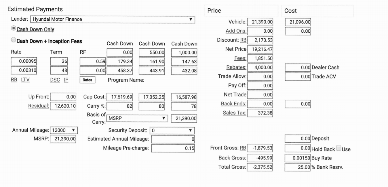 dealer monthly quote not matching calculator ask the hackrs