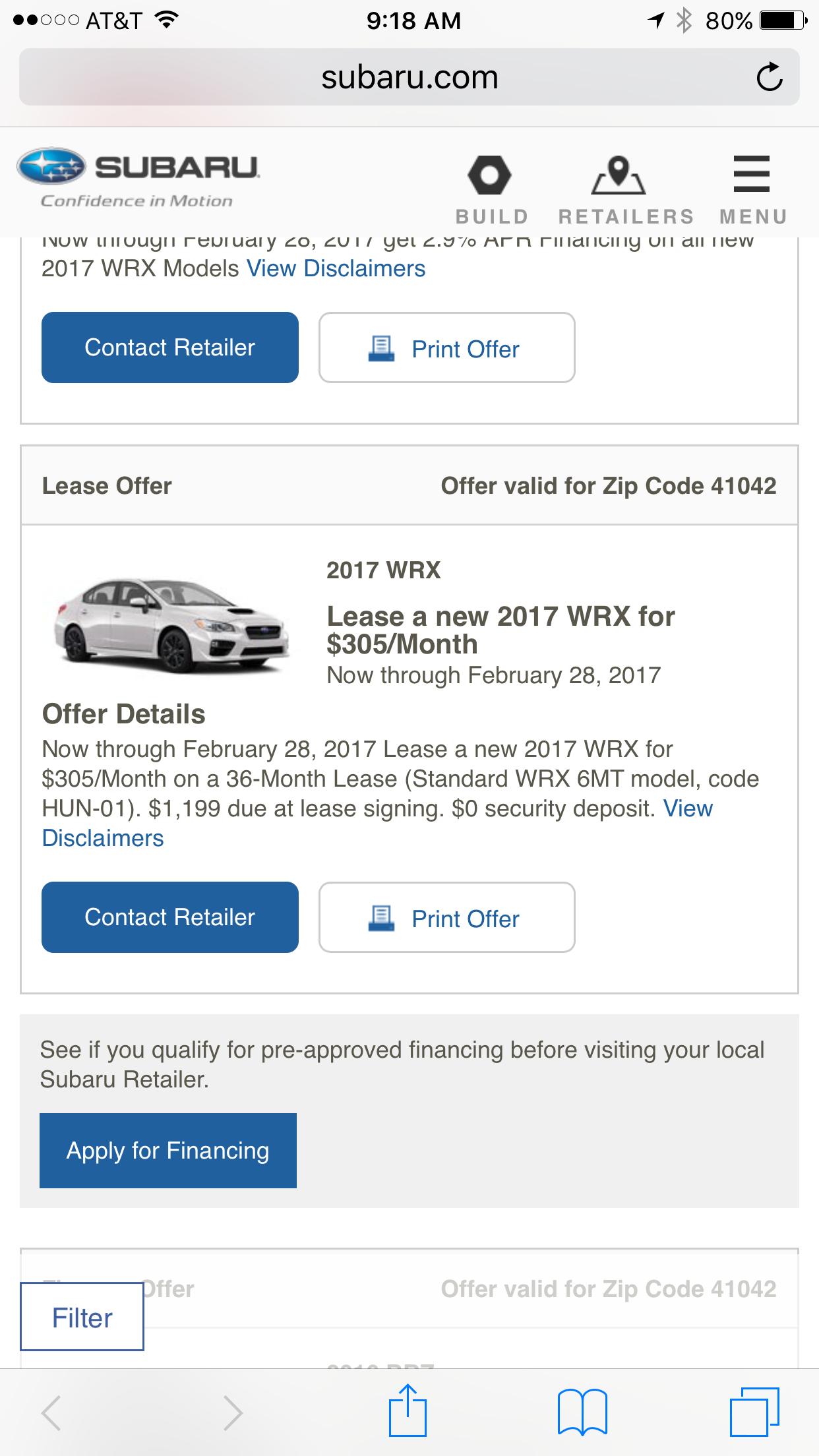 2017 Wrx Or Sti Deals Ask The Hackrs Leasehackr Forum