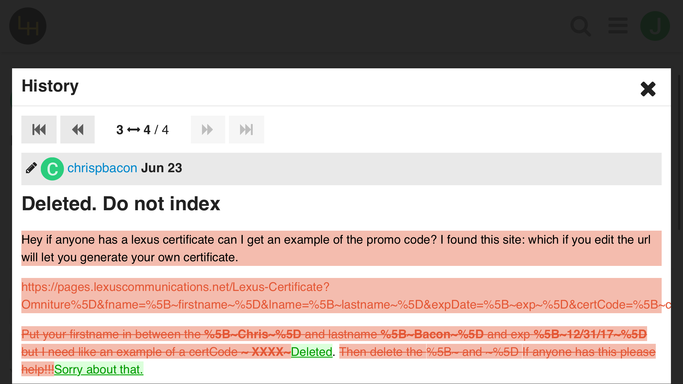 Deleted. Please do not index - Ask the Hackrs - Leasehackr Forum